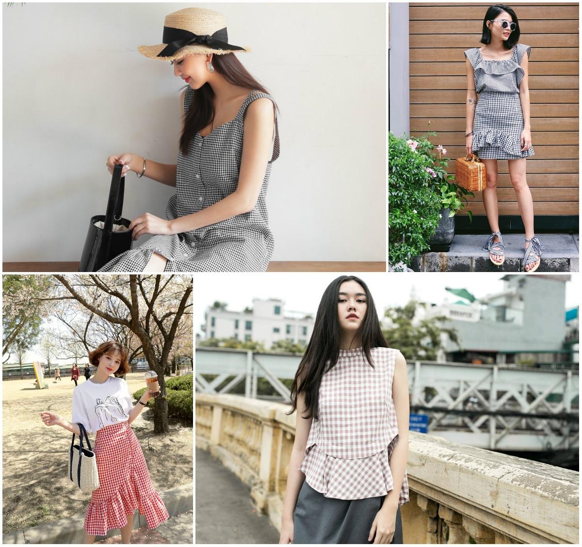 họa tiết caro gingham xu hướng thời trang hè 2018